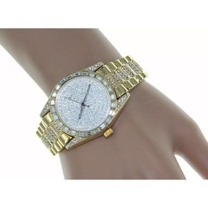 Accessories - NEW Luxury Watch Iced Out Crystal 14K Gold Plating