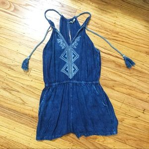 Blue-Wash Romper with draw string neck