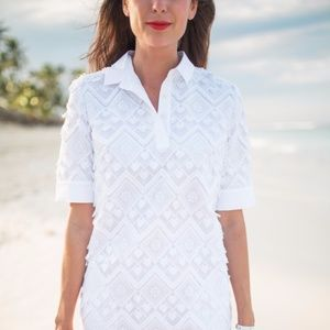 Banana Republic Dresses - Banana Republic white fringe polo collar dress