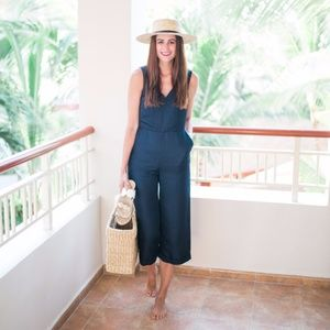 Banana Republic Pants - Banana Republic navy v neck crop jumpsuit