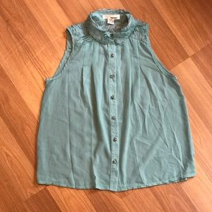 Sans Souci green turquoise sheer smocked flowy