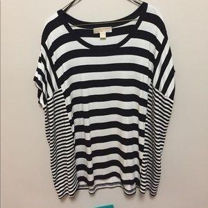 Michael Kors black & cream striped tee shirt