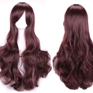 New Long Brown Synthetic Wavy Hair Wig Cosplay