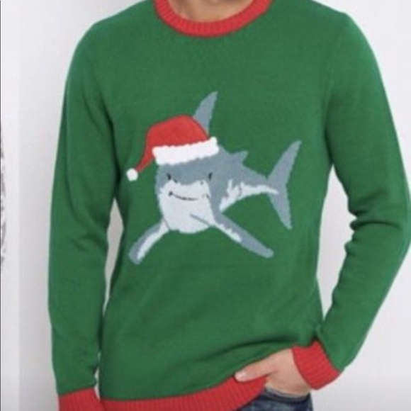 funny shark christmas sweater new mens large - Shark Christmas Sweater