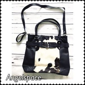 Black Leather/cow fur  tote with shoulder strap