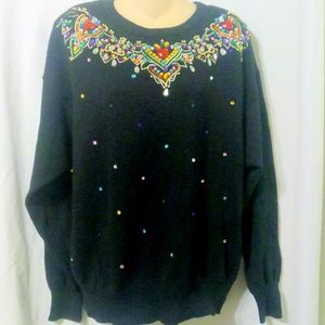 Brittany Leigh Black Jeweled Embellished Sweater *