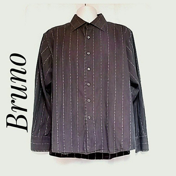 Bruno Other - Men's Long Sleeve Striped Dress Shirt Taupe XL