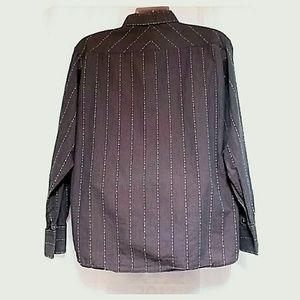 Bruno Shirts - Men's Long Sleeve Striped Dress Shirt Taupe XL