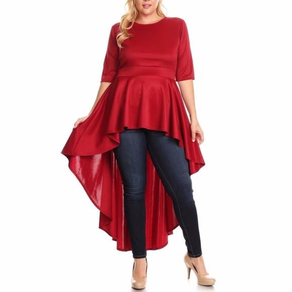 Tops | Plus Dark Red Hi Lo Peplum Dress
