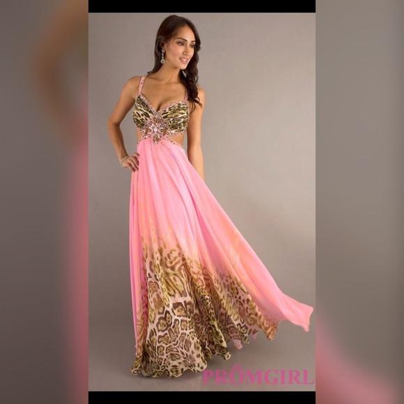 David\'s Bridal Dresses   Pink Cheetah Print Long Prom Dress   Poshmark