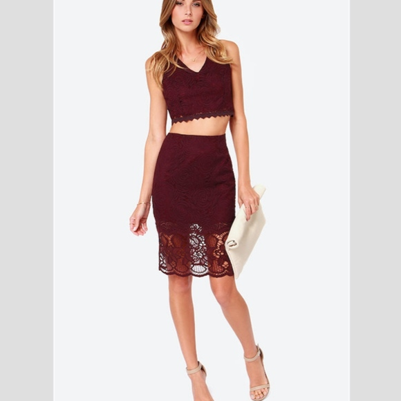 Lush Other 2piece Skirt Crop Top Set Burgundy Lace Xs Poshmark