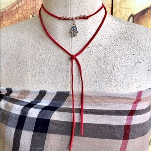 Jewelry - Handmade Red wrap around hamsa evil eye choker.