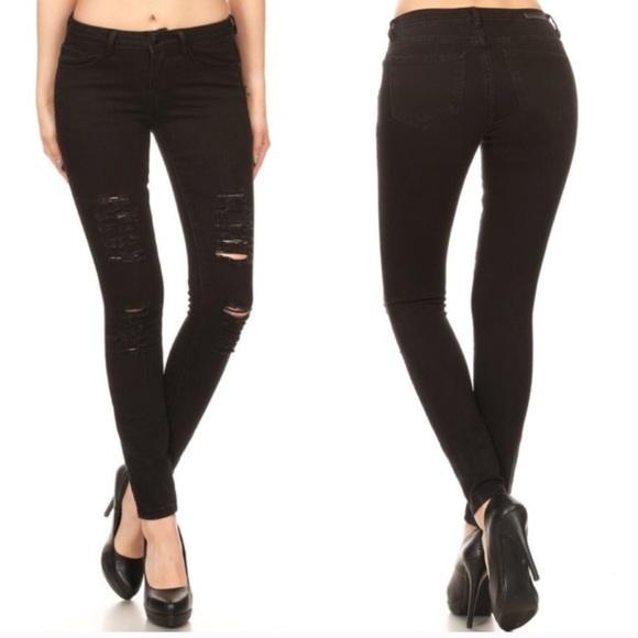 Glamvault Denim - Black Distressed Ankle Skinny Jeans