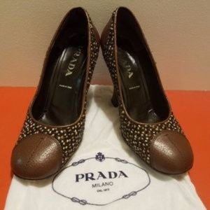 Prada Tweed Vintage 90s Heels Brown Tan Pumps