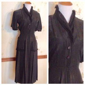 Vintage Gorgeous NELLY DON Black 1950's Dress, S!