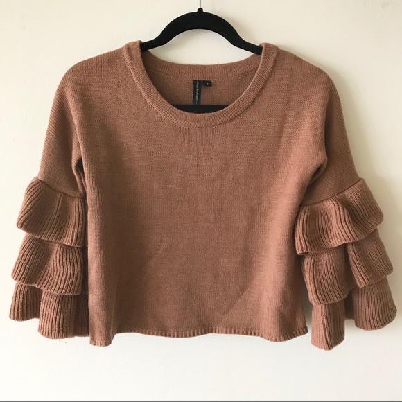 Moon Madison Sweaters Tan Layered Bell Sleeve Sweater Poshmark