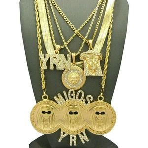 Other - 14K GOLD Plated ICED OUT CHAINS COMBO