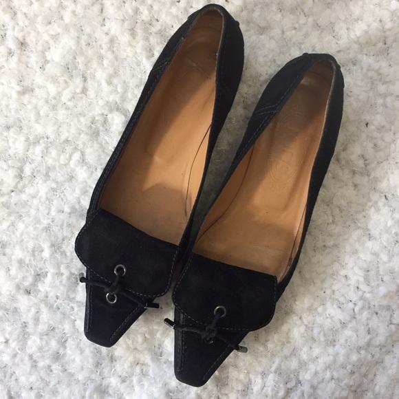 Tod's Black Suede Foldover Tassel Loafers Sz 8
