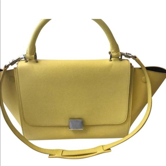 0200e1b1e Celine Bags   Pale Yellow Trapeze Shoulder Bag   Poshmark