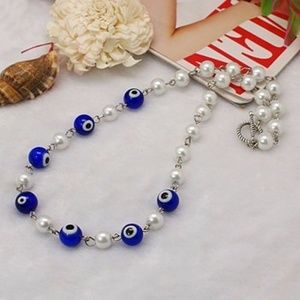 Turkish Evil Eye Beads Glass Pearl Necklace