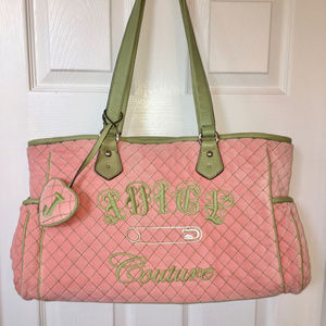 Juicy Couture Pink & Green Quilted Diaper Bag
