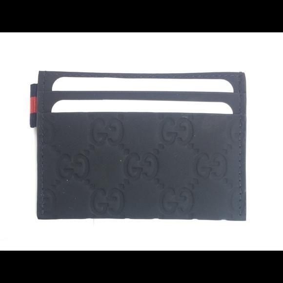 e159440b3c33 Gucci Bags | Dark Blue Gg Rubberleather Card Case322190 | Poshmark