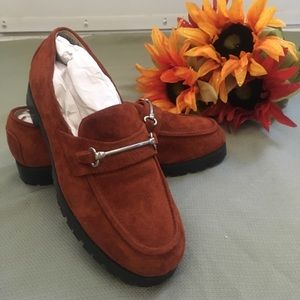 Real suede rust color loafers