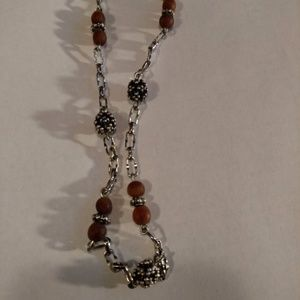 Jewelry - Sterling Silver Stunning Amber Bead Chain Necklace