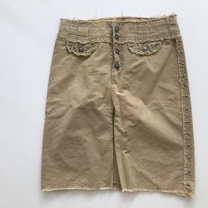 XOXO 90s vintage khaki studded midi skirt