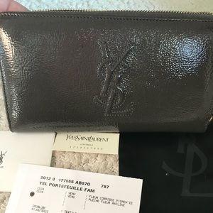 Saint Laurent Grey Leather Zip Around Wallet NWT