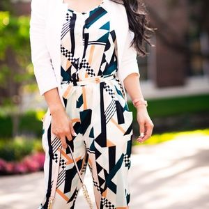 Inomi Pants - Inomi geometric print elegant jumpsuit