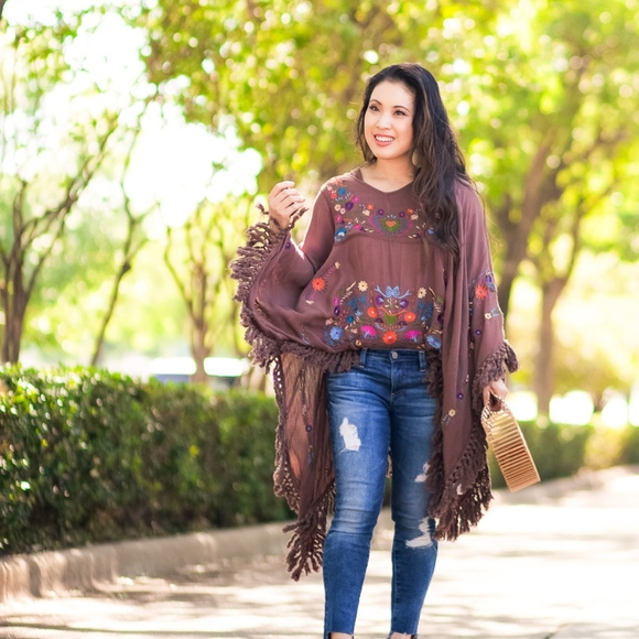 Evy's Tree Sweaters - Evy's Tree brown embroidered poncho