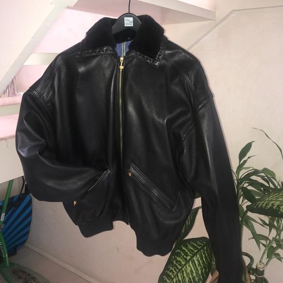 3e9773606 Istante Versace men's leather bomber