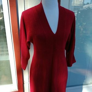 Red Sweater Dress V-neck Connected M