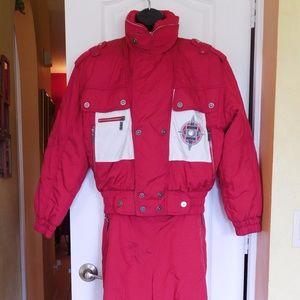 RETRO Women 2 PC Pants Jacket Ski Suit Red SZ 8/10