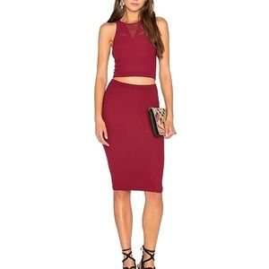 BCBGeneration Mesh Crop Tank & Skirt in Dark Rouge