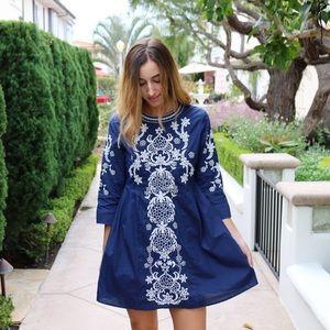 Dresses & Skirts - blue embroidered dress