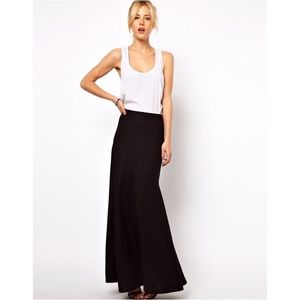 asos full length black Linen skirt