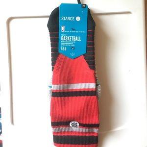Men's NBA stance raptors socks.L9-12 red/black
