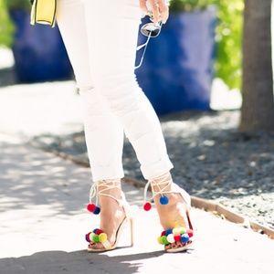 Choies white lace up pom pom detail heeled sandal