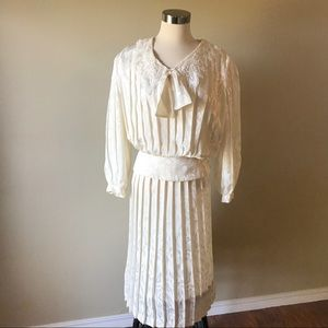 Vintage Ivory Pleated Blouse and Midi Skirt Set