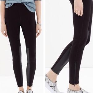 Madewell faux leather ponte panel pants leggings