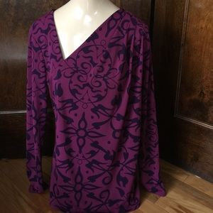 narciso rodriguez stretchy plum/violet print top M