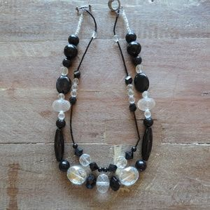 Double strand black and white necklace costume