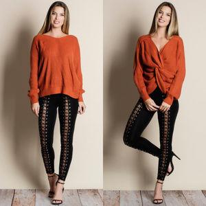Pumpkin Spice Twist Reversible Sweater