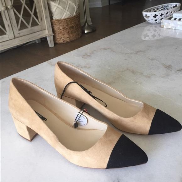 5546e0329fce Zara Two Tone Black and Tan Block Heel