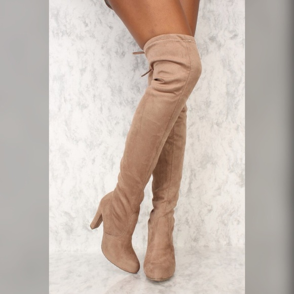 Shoes | Taupe Thigh High Boots | Poshmark