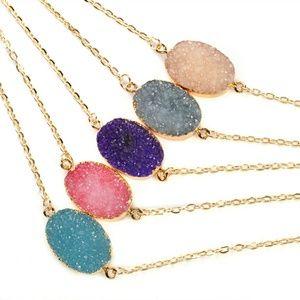 Jewelry - Pink Druzy Crystal Quartz Agate Pendant Necklace