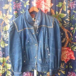 Vintage Sergio Valente Embellished Denim Jacket