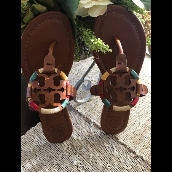 e1123f9243343 New Authentic Tory Burch Embroidered Miller Sandal